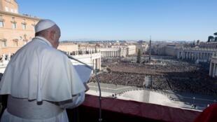 """罗马教皇方剂各25日在梵蒂冈发表""""致全城及全球""""文告"""
