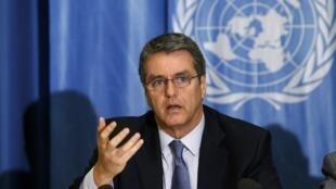 Le directeur de l'Organisation mondiale du commerce (OMC) Roberto Azevedo en conférence de presse à Genève, le 26 novembre 2015.