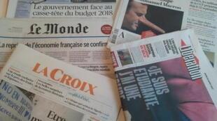 Primeiras páginas dos jornais franceses de 24 de agosto de 2017