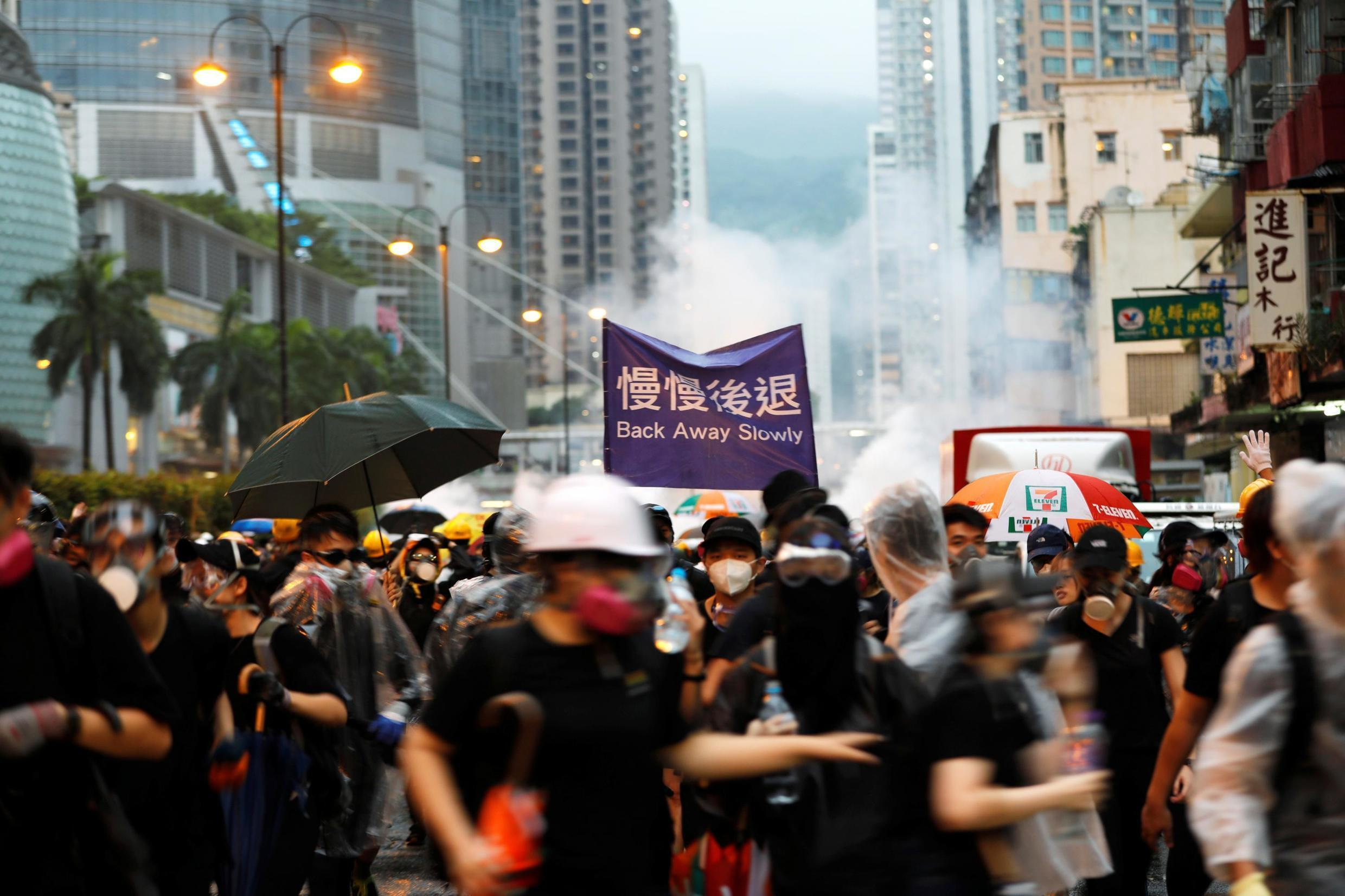 Protesto em Hong Kong, China, 25 de agosto de 2019.