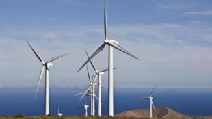 Champ d'éoliennes à Lanzarote aux îles Canaries.