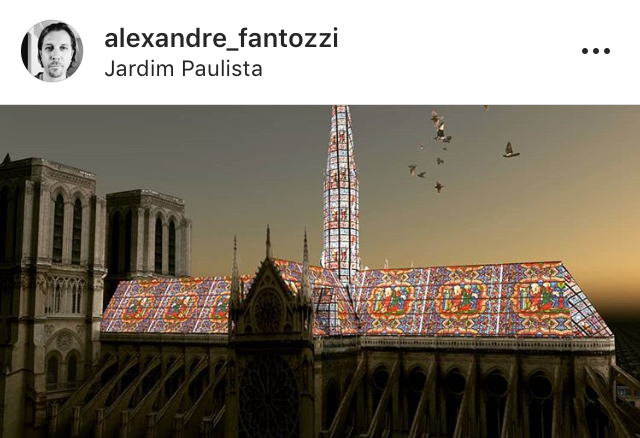 Os vitrais imaginados por Alexandre Fantozzi poderiam ser iluminados à noite.