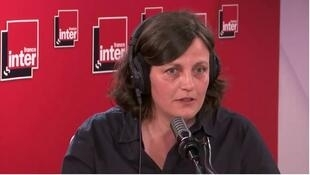 Anne Pauly winner of the 2020 Prix du Livre Inter, in a screen shot of her interview on France Inter radio, 8 June 2020.