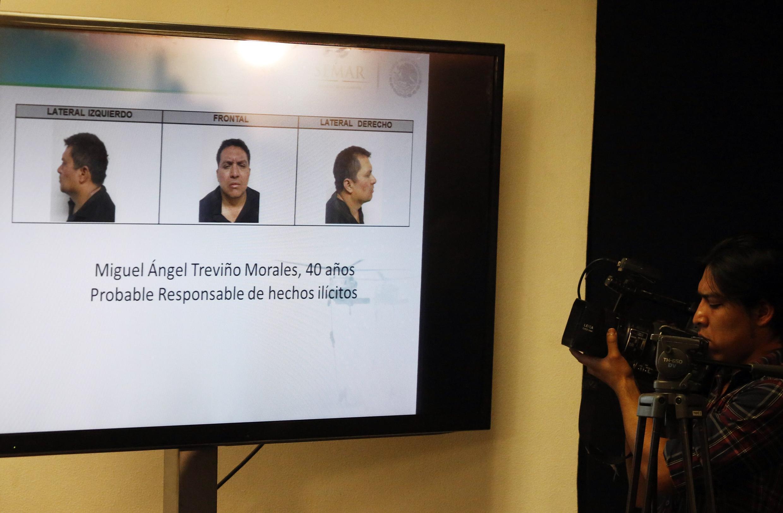Des photographies de Miguel Angel Trevino montrées lors d'une conférence de presse du gouvernement mexicain, le 15 juillet 2013.