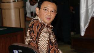 Basuki Tjahaja Purnama, surnommé «Ahok», gouverneur de Jakarta, au démarrage de son procès, ce mardi 13 décembre 2016.