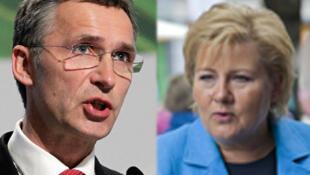 Le Premier ministre actuel Jens Stoltenberg (g) et la conservatrice chef de l'opposition, Erna Solberg.