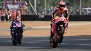 Marc Marquez won the Thailand MotoGP ahead Andrea Dovizioso and Maverick Vinales.