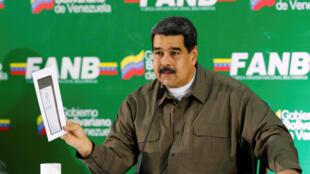 Le président vénézuélien Nicolas Maduro pendant son allocution au Haut Commandement de l'armée, à Caracas, le 11 août 2018.