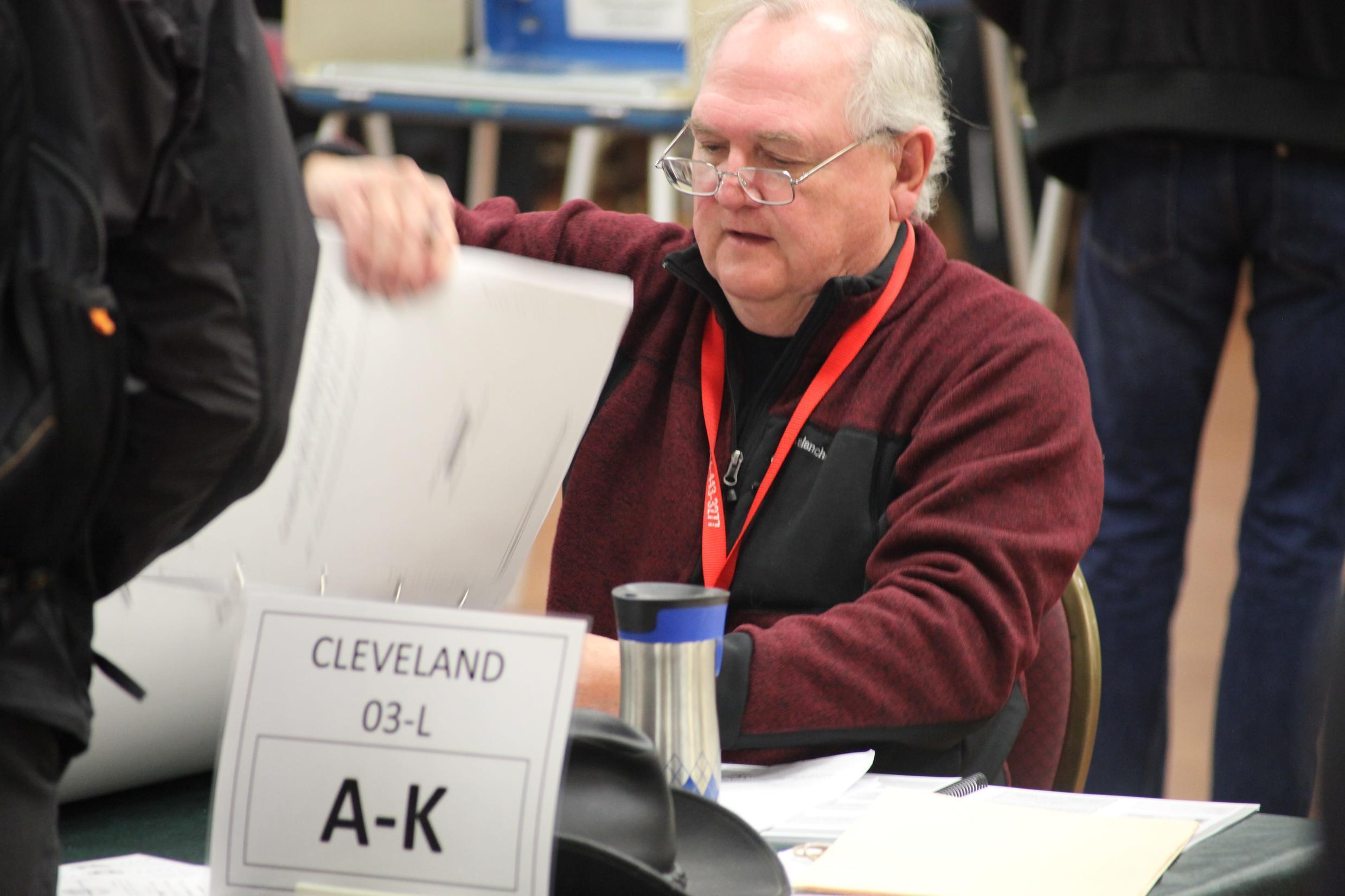 A voting official in Cleveland, Ohio