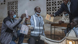 Electoral officials count votes in Lilongwe, Malawi after the 23 May fresh presidential election. A new election was called after the Constitutional Court reled the May 2019 election null and void.