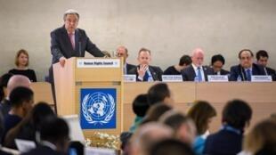 Tổng thư ký Liên Hiệp Quốc Antonio Guterres phát biểu tại buổi khai mạc cuộc họp Hội Đồng Nhân Quyền ngày 27/02/2017 tại Genève.