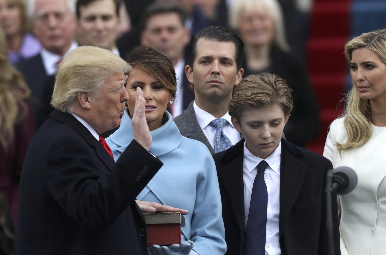 Donald Trump lors de sa prestation de serment, le 20 janvier 2017.