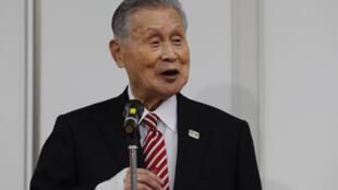 Le président du comité d'organisation des Jeux olympiques de Tokyo, Yoshiro Mori, lors d'une conférence le 4 février 2021 dans la capitale japonaise