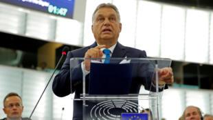 Le Premier ministre hongrois Viktor Orban devant le Parlement européen à Strasbourg, mardi 11 septembre.