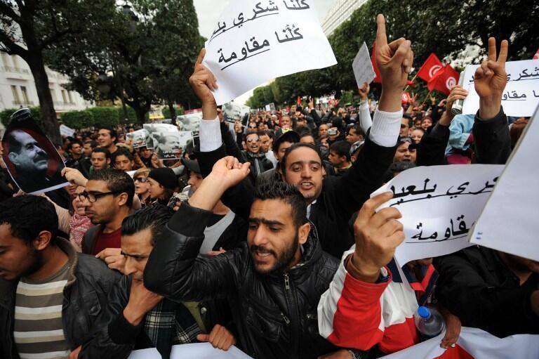 Manifestation sur l'avenue Bourguiba, à Tunis, le 23 février 2013.