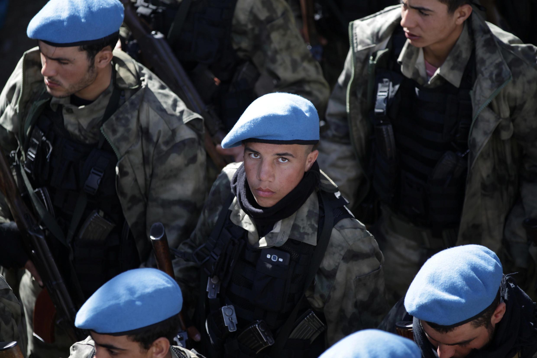 Les bérets bleus sont formés et chargés par la Turquie d'assurer la sécurité dans la ville de Jarablous, au nord de la Syrie.
