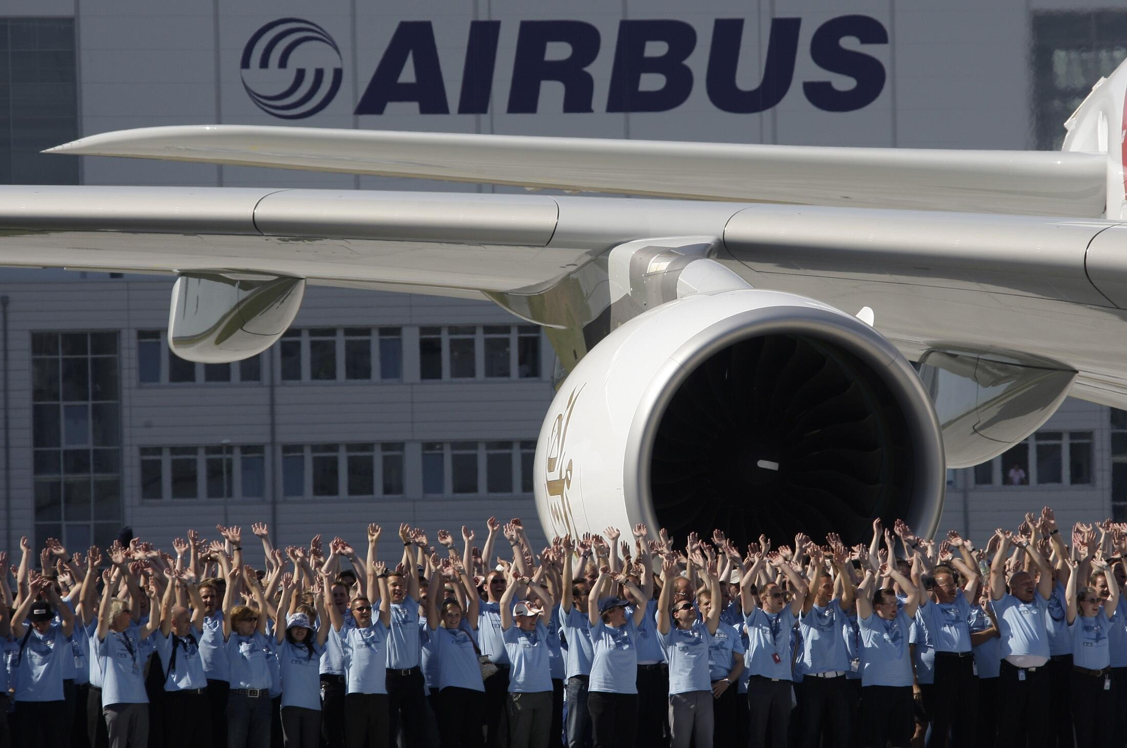 Airbus employees at a handover ceremony in Hamburg, Germany, in 2008