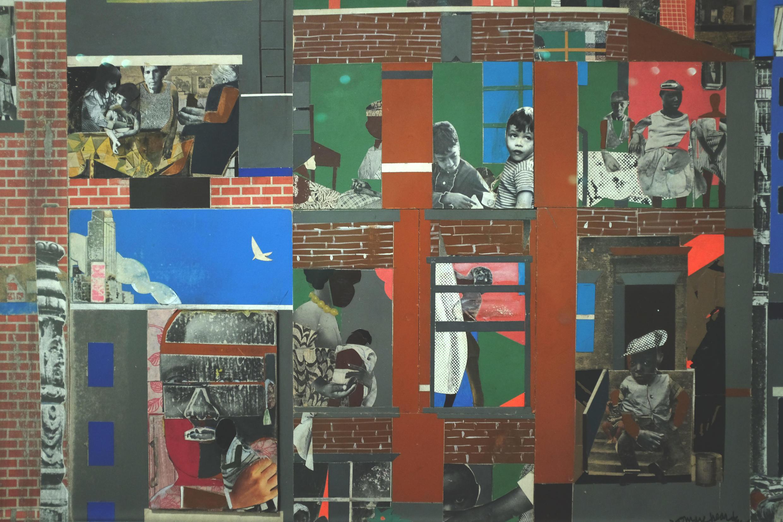 Vue de l'oeuvre « The Block II » (detail), 1972, de Romare Bearden, exposée dans « The Color Line » au musée du quai Branly.