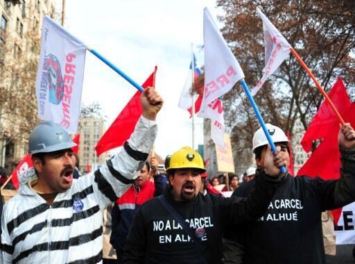 Manifestación de los mineros contra el gobierno de Sebastián Piñera.