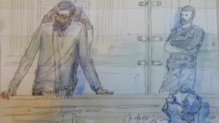 A press drawing from Mourad Farès' first day in court, Paris, 20 January 2020.