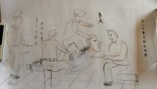 Un dessin réalisé par M. Liu Renwang illustrant les tortures qu'il a subies en détention en Chine. Publié le 11 août 2015 par le New York Times.