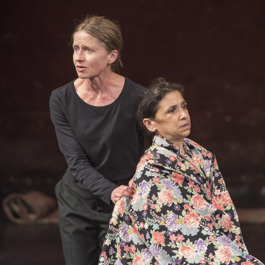 Hayley Carmichael (L) and Kathryn Hunter in Peter Brook and Marie-Hélène Estienne's 'Why?' at the Bouffes du Nord in Paris, June 2019