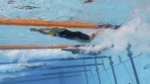 A nadadora australiana, Alicia Jayne Coutts, durante competição 4x100 m livre feminino do Mundial de natação de Barcelona. Alicia, foi campeã olímpica nos Jogos de Londres de 2012.