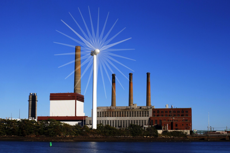 Một tua bin điện gió trước một nhà máy điện truyền thống, Charlestown, Massachusetts, Hoa Kỳ, 18/09/2013.