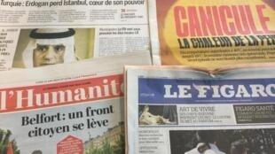 Primeiras páginas dos diários franceses. 24 de Junho de 2019.