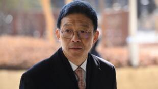 L'ancien procureur de Séoul Ahn Tae-geun lors de son arrivée à la cour du district central de Séoul, mercredi 23 janvier 2019, pour son procès.