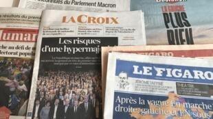 Primeiras páginas dos diários franceses 13/6/2017
