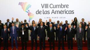 Los presidentes que participaron en la 8a Cumbre de las Américas en Lima.
