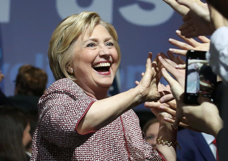 Hillary Clinton célèbre sa victoire aux primaires de l'Etat de New York.