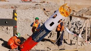 Cápsula individual que será usada no resgate de mineiros.