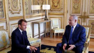 Emmanuel Macron da  Benyamin Netanyahu à fadar  l'Elysée, a Faransa