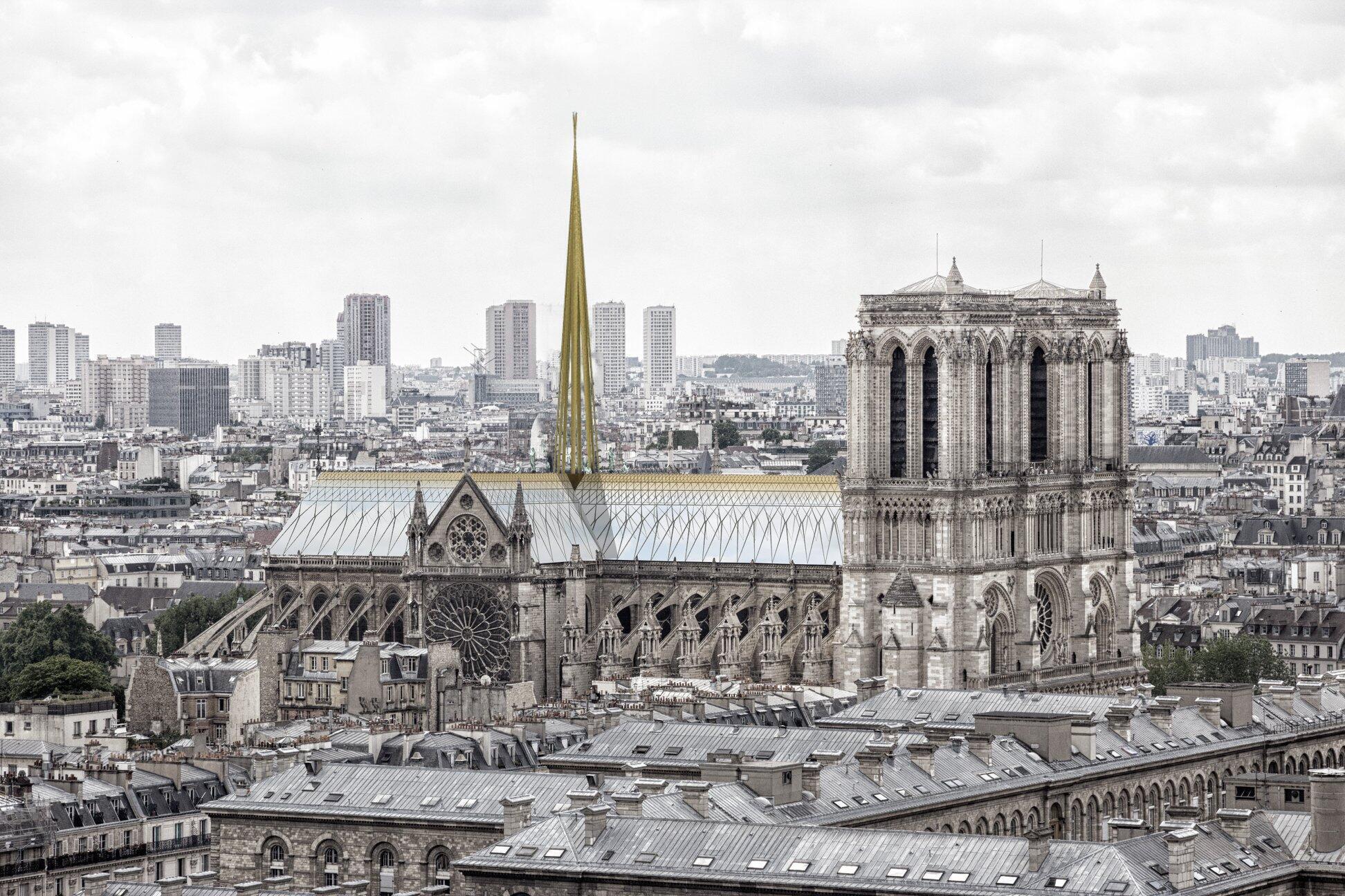 Godat & Roussel propõe um telhado envidraçado, sob o qual os visitantes poderiam passear e admirar a vista de Paris.