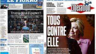 Capa dos jornais franceses Le Figaro e Libération desta terça-feira, 7 de junho de 2016.