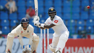 Sri Lanka's Angelo Mathews plays a shot during the second Test match against England.