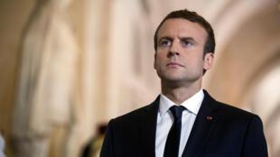 圖為法國總統馬克龍2017年7月3日於凡爾賽議會大廳