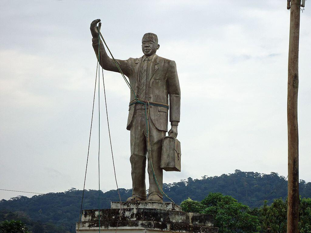 Statue in the centre of Eseka, Cameroon, erected with the support of minister Frédéric Kodock