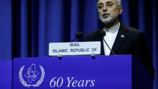 Lãnh đạo Tổ Chức Năng Lượng Hạt Nhân Iran Ali-Akbar Salehi phát biểu tại hội nghị IAEA, Vienna, Áo ngày 18/09/2017.