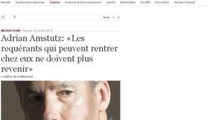 Jornal Le Temps publicou uma entrevista com o vice-presidente do partido UDC, Adrian Amstutz, neste sábado (18).