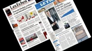 Capa dos jornais franceses Les Echos e Le Figaro desta terça-feira, 02 de julho de 2015