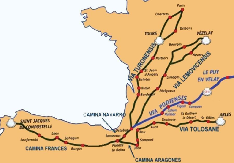 从法国到西班牙的圣雅各朝圣之路地图(Chemins de Saint-Jacques-de-Compostelle )