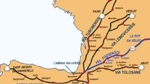 從法國到西班牙的聖雅各朝聖之路地圖(Chemins de Saint-Jacques-de-Compostelle )