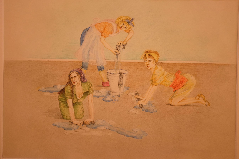 """""""Bodenschrubben"""" (1975) de Birgit Jürgenssen en """"Women House"""" en la Monnaie de París."""