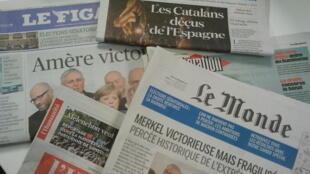 Primeiras páginas dos jornais franceses de 25 de setembro de 2017