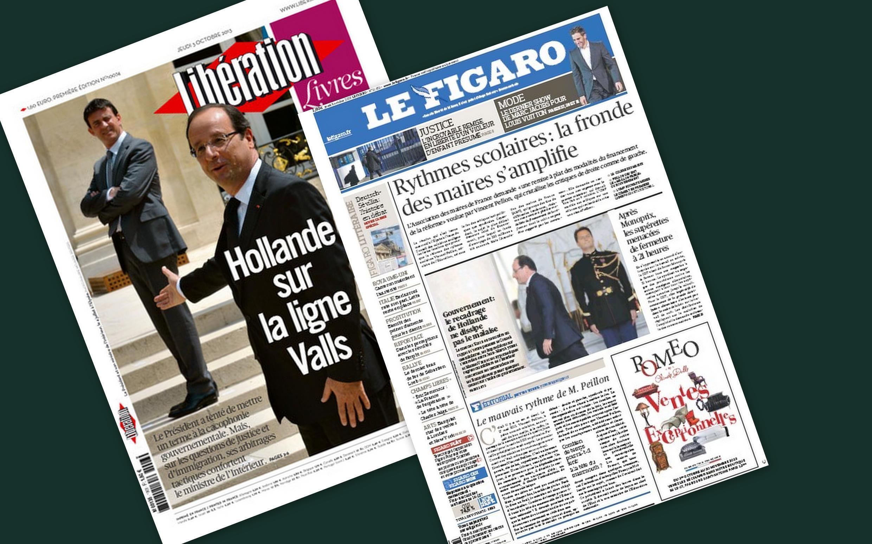 Capa dos jornais Le Figaro e Libération desta quinta-feira, 3 de outubro