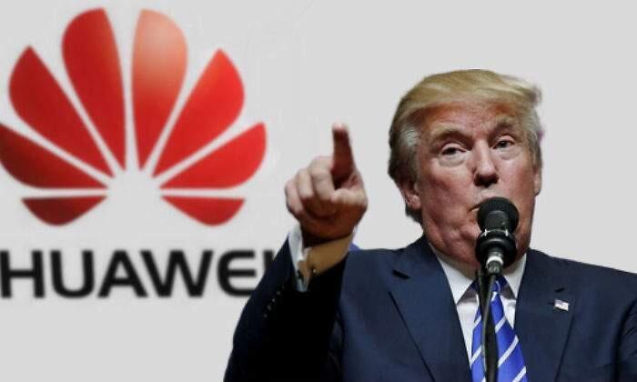 美国总统特朗普与华为议题合成照