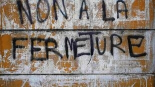 """No to closure"" - graffiti in Florange"